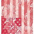 American Floral Flag Print by huliodoyle