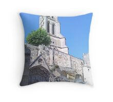 Romanesque church with steeple Throw Pillow