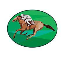 Jockey Horse Racing Oval Low Polygon by patrimonio