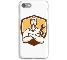 Mechanic Arms Crossed Wrench Shield Retro iPhone Case/Skin