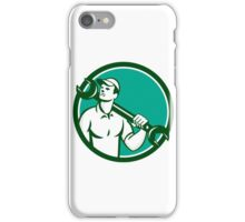Mechanic Spanner Wrench Looking Up Retro iPhone Case/Skin