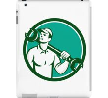 Mechanic Spanner Wrench Looking Up Retro iPad Case/Skin