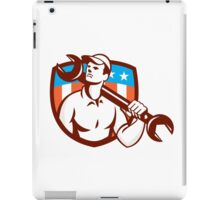 Mechanic Spanner Wrench USA Flag Retro iPad Case/Skin