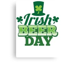 Irish Beer day St Patricks day design with top hat and shamrocks Canvas Print