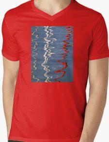 Red, White and Blurred Mens V-Neck T-Shirt