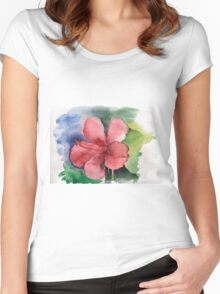 Seamless floral background watercolor Women's Fitted Scoop T-Shirt