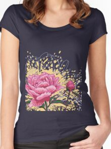 peony flowers Women's Fitted Scoop T-Shirt