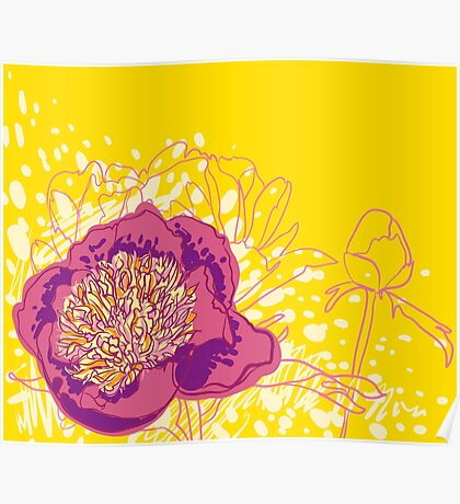 peony flowers Poster