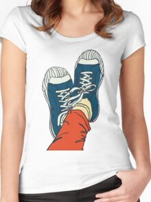 colored pattern gym shoes Women's Fitted Scoop T-Shirt