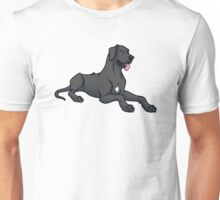 Great Dane - Black - Floppy Ears  Unisex T-Shirt