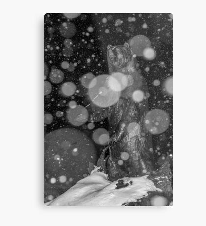 Spirit Bear in Snowstorm Metal Print