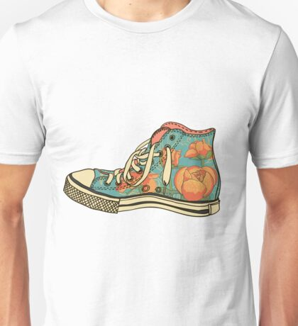 colored pattern gym shoes Unisex T-Shirt