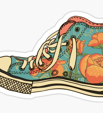 colored pattern gym shoes Sticker