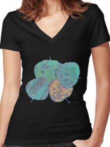Psychedelic Fall Women's Fitted V-Neck T-Shirt
