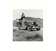 Dorothea Lange atop automobile in California. The car is a 1933 Ford Model C, 4 door Wagon. Art Print