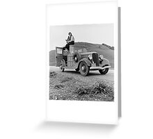 Dorothea Lange atop automobile in California. The car is a 1933 Ford Model C, 4 door Wagon. Greeting Card