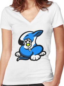 English Bull Terrier Kicking Back Blue and White Women's Fitted V-Neck T-Shirt