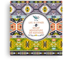 Seamless aztec pattern with geometric elements Canvas Print