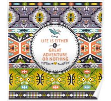 Seamless aztec pattern with geometric elements Poster