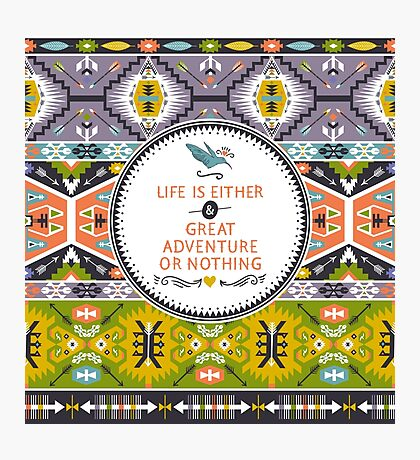 Seamless aztec pattern with geometric elements Photographic Print