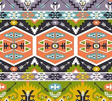 Seamless aztec pattern with geometric elements by Olena Syerozhym