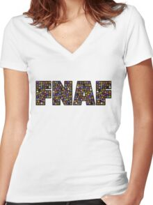 Five Nights at Freddys - Pixel art - FNAF typography (Black BG) Women's Fitted V-Neck T-Shirt