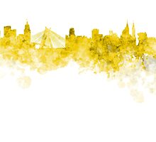 Sao Paulo skyline in yellow watercolor on white background by paulrommer