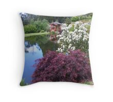 in the Japanese garden at Emu Valley rhodo garden, Burnie, Tasmania Throw Pillow