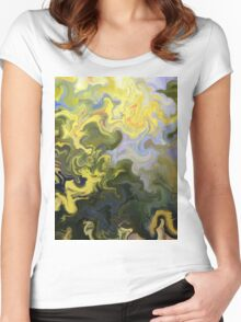 abstract, green, blue, nature, water, reflection, impressionist, Women's Fitted Scoop T-Shirt