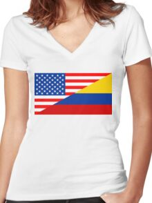 usa colombia Women's Fitted V-Neck T-Shirt