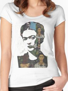 Frida Kahlo Paintings and Photographs Mix Women's Fitted Scoop T-Shirt