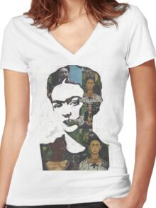 Frida Kahlo Paintings and Photographs Mix Women's Fitted V-Neck T-Shirt