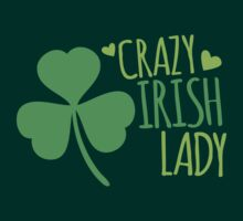 Crazy Irish Lady with green ireland shamrock T-Shirt