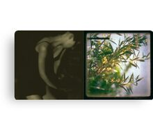 a small figure in olive fatigues Canvas Print
