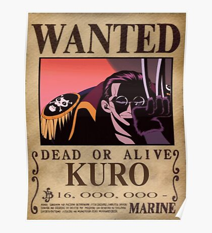 Wanted Kuro - One Piece Poster