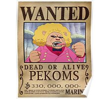 Wanted Pekoms - One Piece Poster
