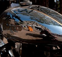 Hampi reflected in a Royal Enfield tank by Syd Winer