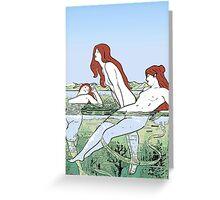 Bathing Nymphs Art Nouveau Illustration Greeting Card