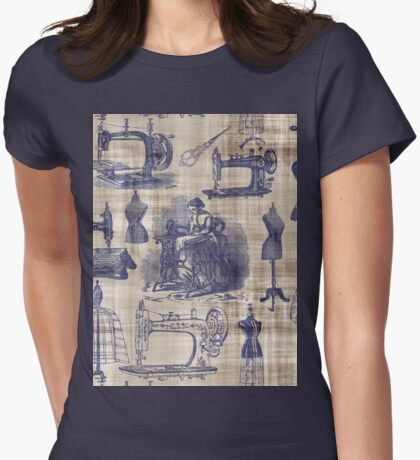 Vintage Sewing Toile Womens Fitted T-Shirt