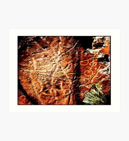 Pictographs or rock scratches Art Print