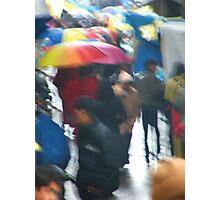 Umbrellas in a Rainy Street Photographic Print
