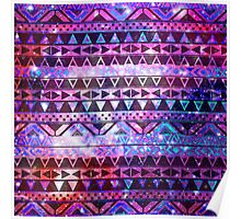 Girly Andes Aztec Pattern Pink Teal Nebula Galaxy Poster