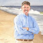 Departed husband on the beach watercolor by Mike Theuer
