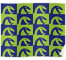 Dino Blue and Green Poster