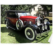 RED AND YELLOW CHECKERED CLASSIC AUTOMOBILE Poster