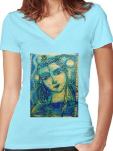 POETIC SWEETNESS Women's Fitted V-Neck T-Shirt