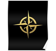 Compass Black & Gold - gold foil, gold, compass, black and white, trendy, luxe, gold phone Poster
