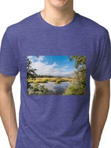 Green Marsh Grasses Under Blue Sky Tri-blend T-Shirt