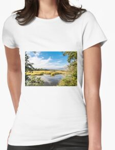 Green Marsh Grasses Under Blue Sky Womens Fitted T-Shirt