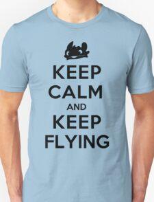 Keep Calm and Keep Flying (Black) Unisex T-Shirt